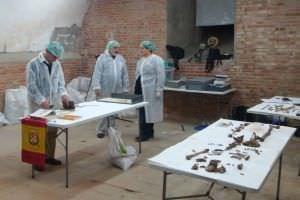 El equipo extrae material de la cripta