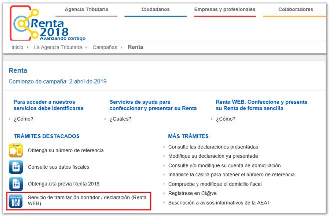 renta web agencia tributaria declaración