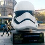 Cabezudos de 'Star Wars' nos vigilan antes del estreno de la película