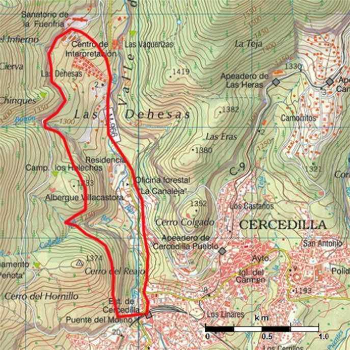 Mapa ruta Valle del Dragón cercedilla