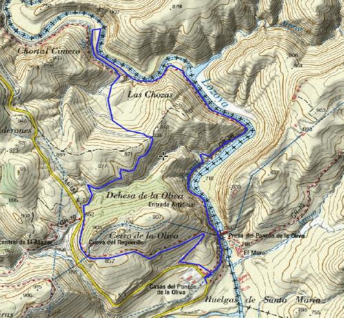 Mapa de la ruta de Pontón de la Oliva