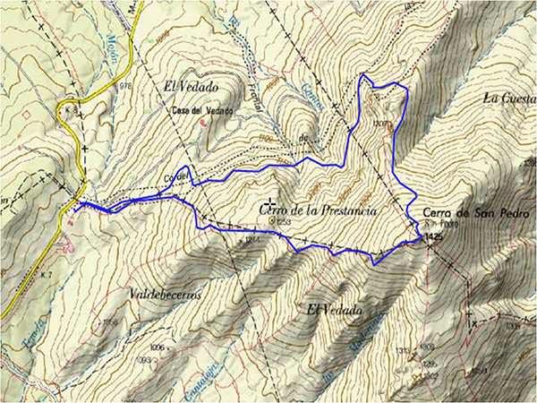 Mapa de la ruta al Cerro de San Pedro