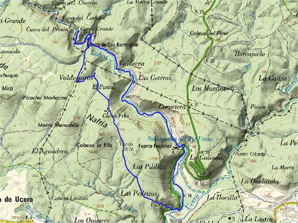 Mapa ruta Cañón del río Lobos