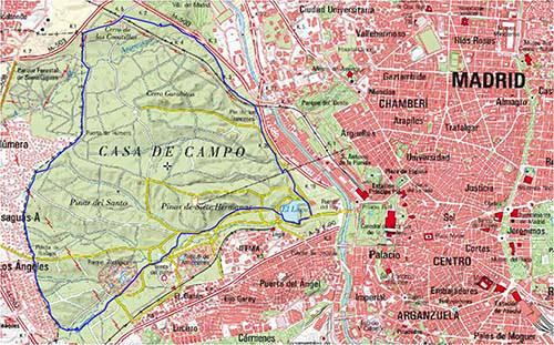 Ruta de senderismo en la ciudad la casa de campo - Mapa de la casa de campo ...