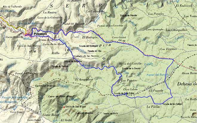 Mapa ruta Palomera