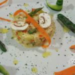 Timbal de 'risotto' con verduras