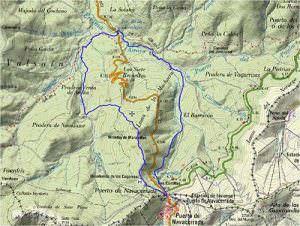 Mapa de la ruta de los Cogorros