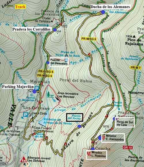 Track de la ruta al Mirador de los poetas