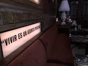 Esta y otras frases decoran los salones del Café Comercial   Foto: Andrea Pita
