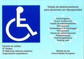 Tarjeta para estacionamiento reservado