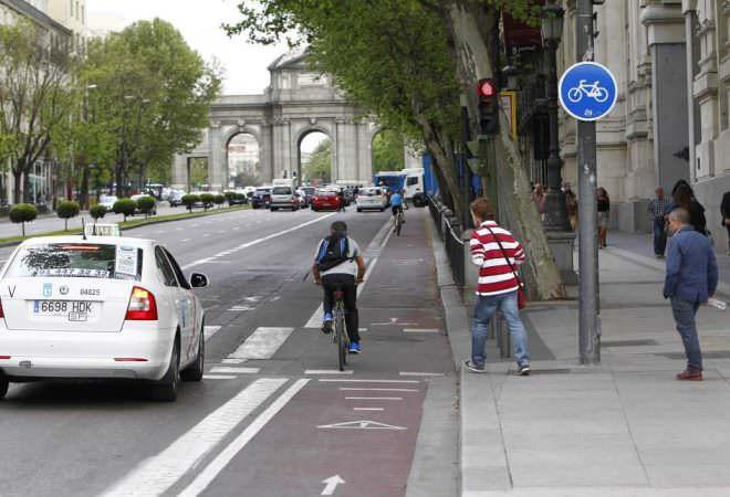 Carril bici en la capital madrileña.