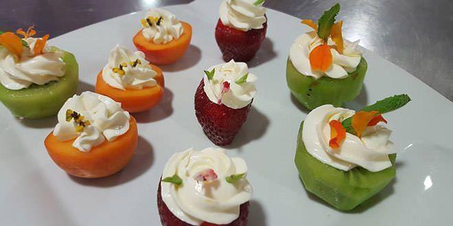 Receta de fruta con crema de queso