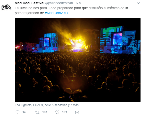 Twit de la cuenta oficial de MadCool