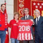 Garrido, Gabi, Amanda Sampedro y Cerezo. Triunfo Altético de Madrid Europa League y Liga Femenina