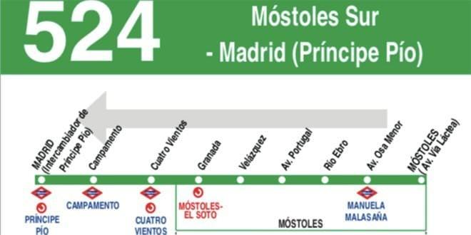 Paradas línea autobús interurbano 524
