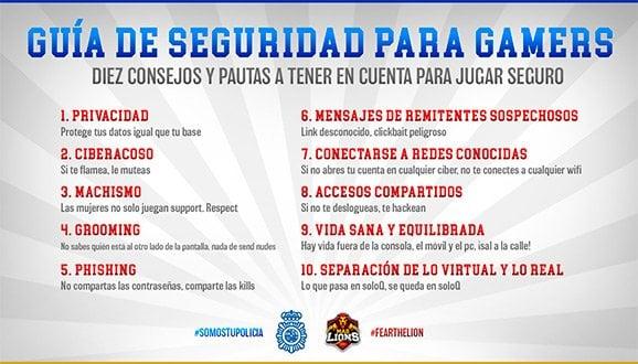 Guía Seguridad Gamer Mad Lions Policía Nacional