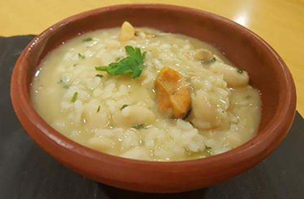 receta alubias arroz potaje mejillones