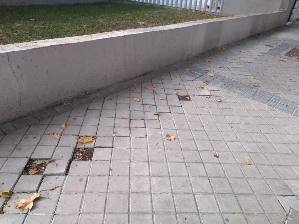 Adoquinado dañado en Madrid Centro