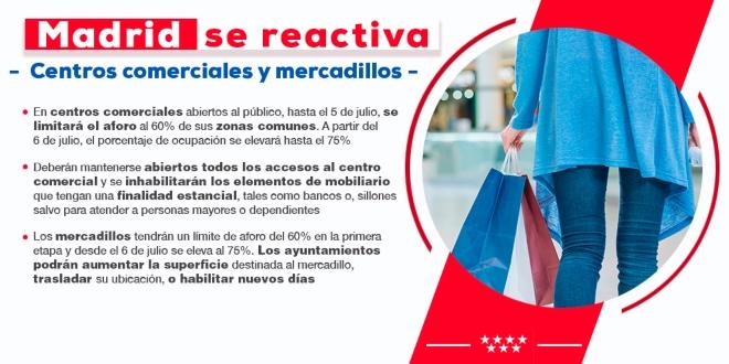 centros comerciales y mercadillos madrid 21 junio