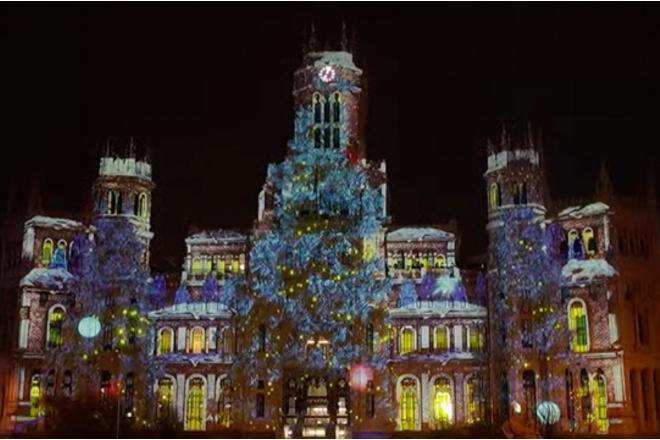 fachada Cibeles navidad